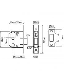 Union L2332 Oval Nightlatch Complete Lockset